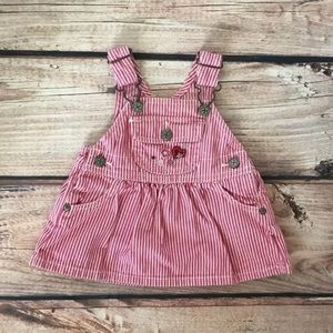 OshKosh b'gosh overall dress pink stripe 3 Month